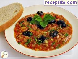 Stew with olives onion