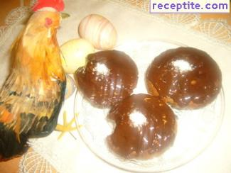 Sponge cakecheta with chocolate spread and hazelnuts