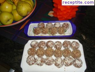 Candies with coconut and chocolate spread