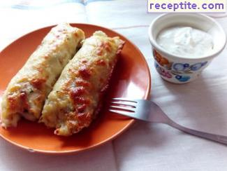Stuffed pancakes in the oven